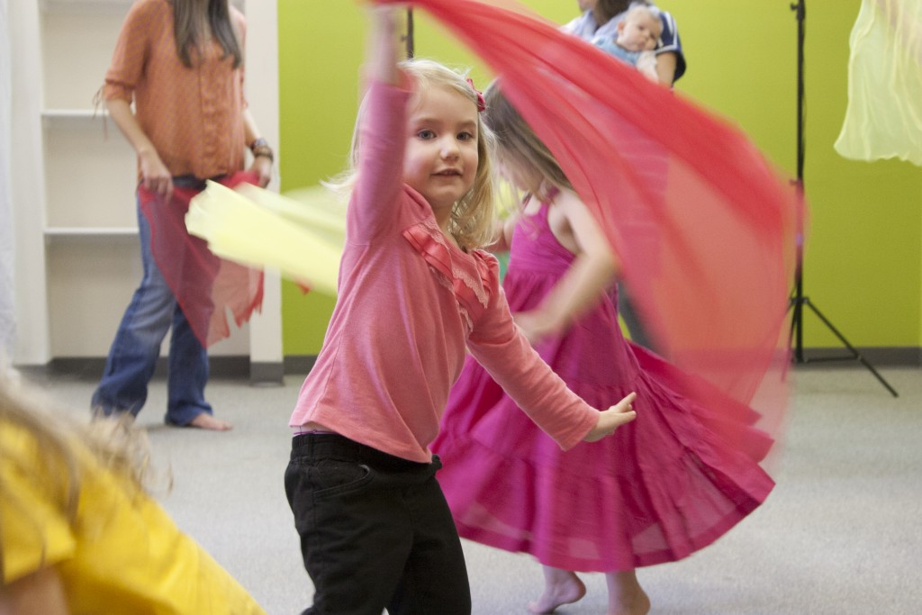 Dancing with scarves during a Musikgarten toddler class.